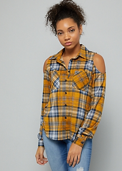 Mustard Plaid Print Cold Shoulder Button Down Shirt
