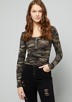 Camo Print Long Sleeve Zip Crop Top
