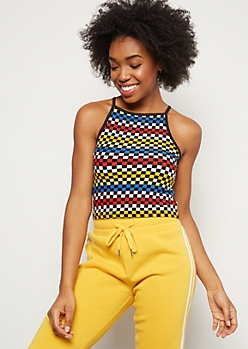Rainbow Checkered Print Super Soft High Neck Cropped Tank Top