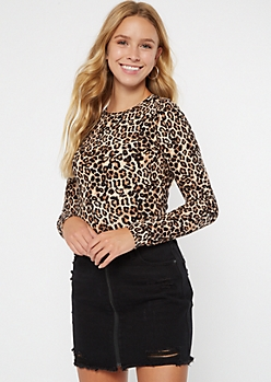 Leopard Print Super Soft Ribbed Knit Tee