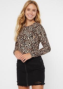Leopard Print Super Soft Ribbed Knit Tee
