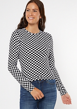Checkered Print Super Soft Ribbed Knit Tee