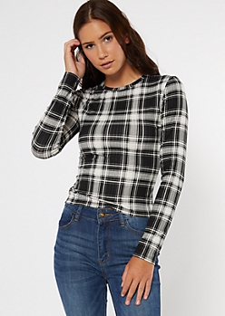 Black Plaid Print Super Soft Ribbed Knit Tee