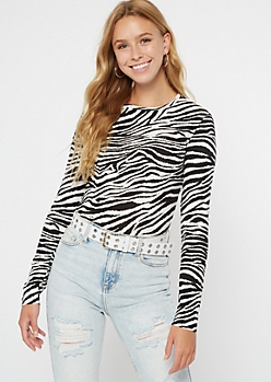 Zebra Print Ribbed Knit Long Sleeve Top