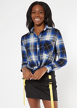 Blue Plaid Boyfriend Button Down Shirt