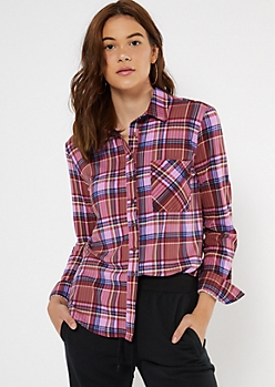 Pink Plaid Boyfriend Button Down Shirt
