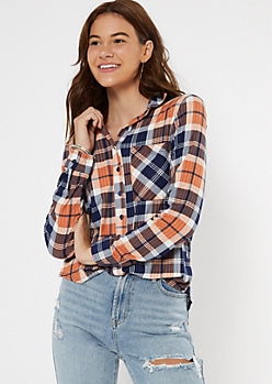 Burnt Orange Plaid Boyfriend Button Down Shirt
