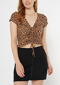 Cheetah Print Cinch Tie Front Top