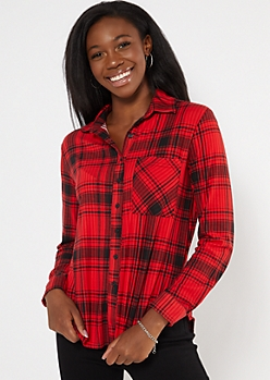 Red Plaid Super Soft Boxy Button Down Shirt