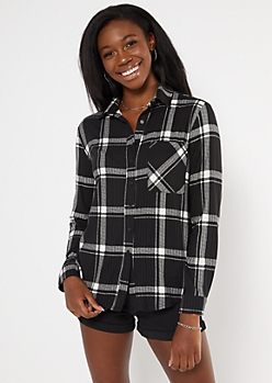 Black Plaid Super Soft Boxy Button Down Shirt