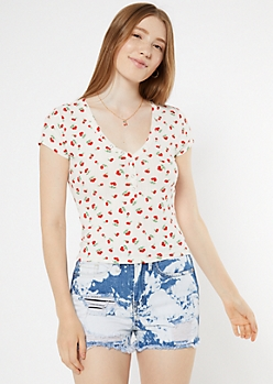 White Cherry Print Snap Neck Henley Tee
