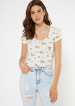 White Floral Print Button Ribbed Knit Tee