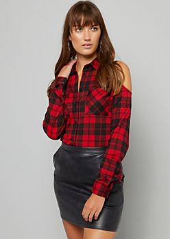 Red Plaid Print Cold Shoulder Button Down Top