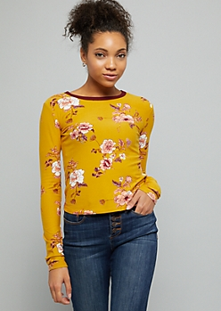 Mustard Floral Print Super Soft Long Sleeve Tee