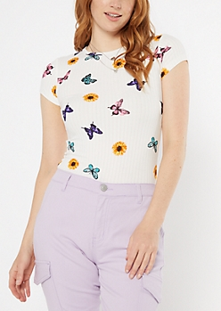 White Butterfly Floral Print Super Soft Tee