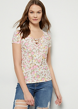 Light Pink Floral Print Super Soft Lace Up Tee