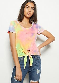 Pastel Tie Dye Super Soft Tie Front Skimmer Top