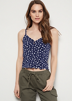 Navy Floral Print Lettuce Edge Cropped Tank Top