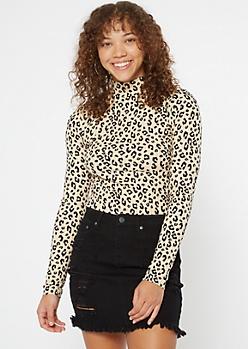 Leopard Print Ribbed Mock Neck Top