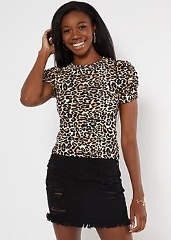 Cheetah Print Puff Sleeve Super Soft Ribbed Knit Tee