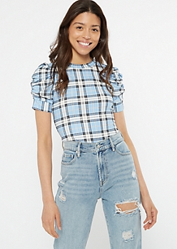 Blue Striped Ruched Puff Sleeve Tee