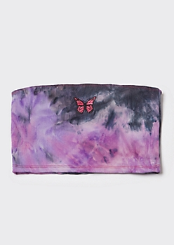 Purple Tie Dye Butterfly Embroidered Tube Top