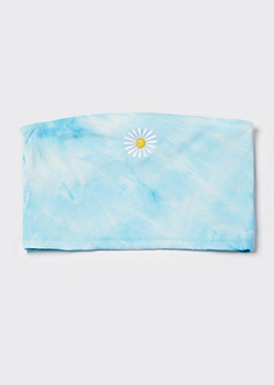Blue Tie Dye Daisy Embroidered Tube Top