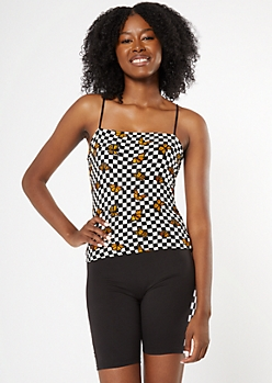Checkered Print Butterfly Bungee Strap Tank