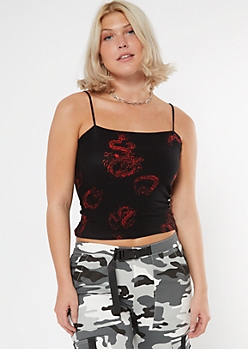 Black Dragon Print Bungee Tank Top