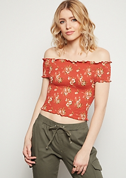 Burnt Orange Floral Print Off The Shoulder Smocked Crop Top