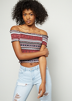 Burgundy Border Print Off The Shoulder Smocked Crop Top