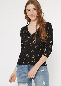 Black Floral Print Super Soft Button Top