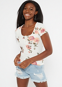 Ivory Floral Print Snap Neck Henley Tee