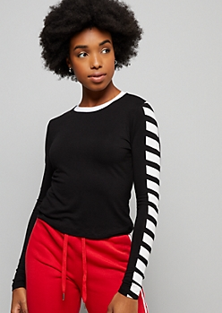 Black Diagonal Striped Ringer Long Sleeve Tee