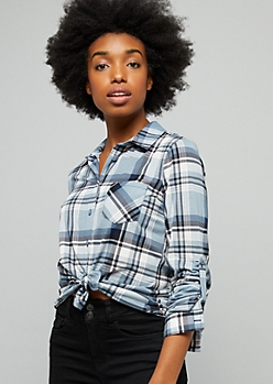 Light Blue Plaid Print Tie Front Button Down Shirt