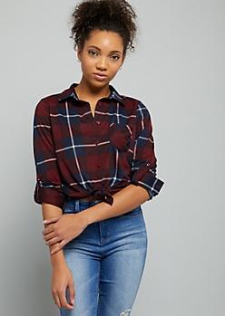 Burgundy Plaid Print Tie Front Button Down Shirt