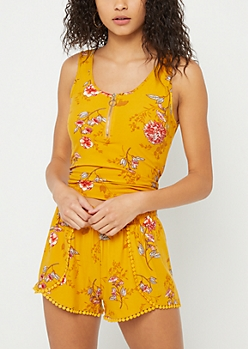 Yellow Floral Print Super Soft Zip Tank Top