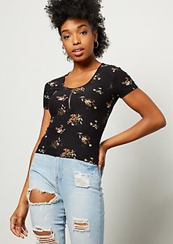 Black Floral Print Zip Super Soft Top
