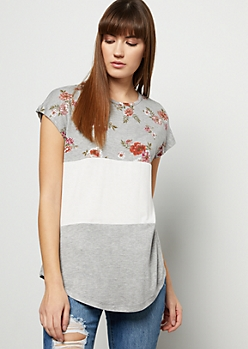Gray Floral Print Colorblock Tee