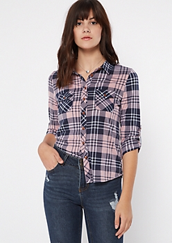 Pink Button Pocket Plaid Print Shirt