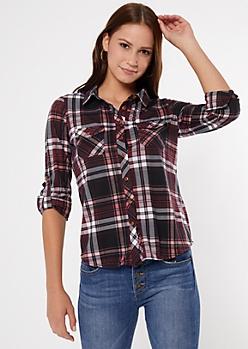 Burgundy Button Pocket Plaid Print Shirt