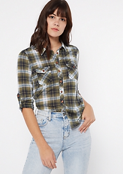 Olive Button Pocket Plaid Print Shirt