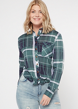 Hunter Green Chest Pocket Boyfriend Plaid Print Shirt