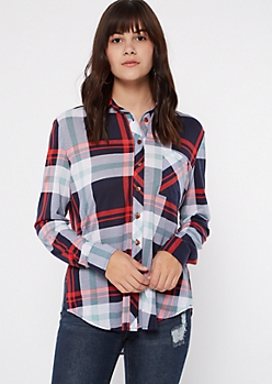 Navy Chest Pocket Boyfriend Mixed Plaid Print Shirt