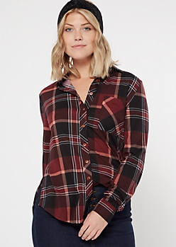 Burgundy Chest Pocket Boyfriend Plaid Print Shirt