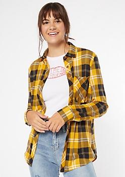 Mustard Chest Pocket Boyfriend Plaid Print Shirt