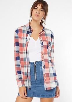 Pink Chest Pocket Boyfriend Plaid Print Shirt