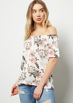 Ivory Floral Print Off The Shoulder Top