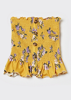 Yellow Floral Print Smocked Peplum Tube Top