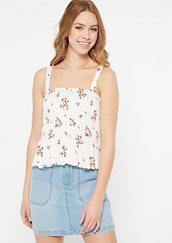 White Floral Print Smocked Peplum Tank Top
